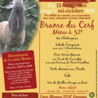 menu Brame du cerf 2018 à la ferme auberge Les Chenes